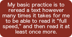 My basic practice is to read