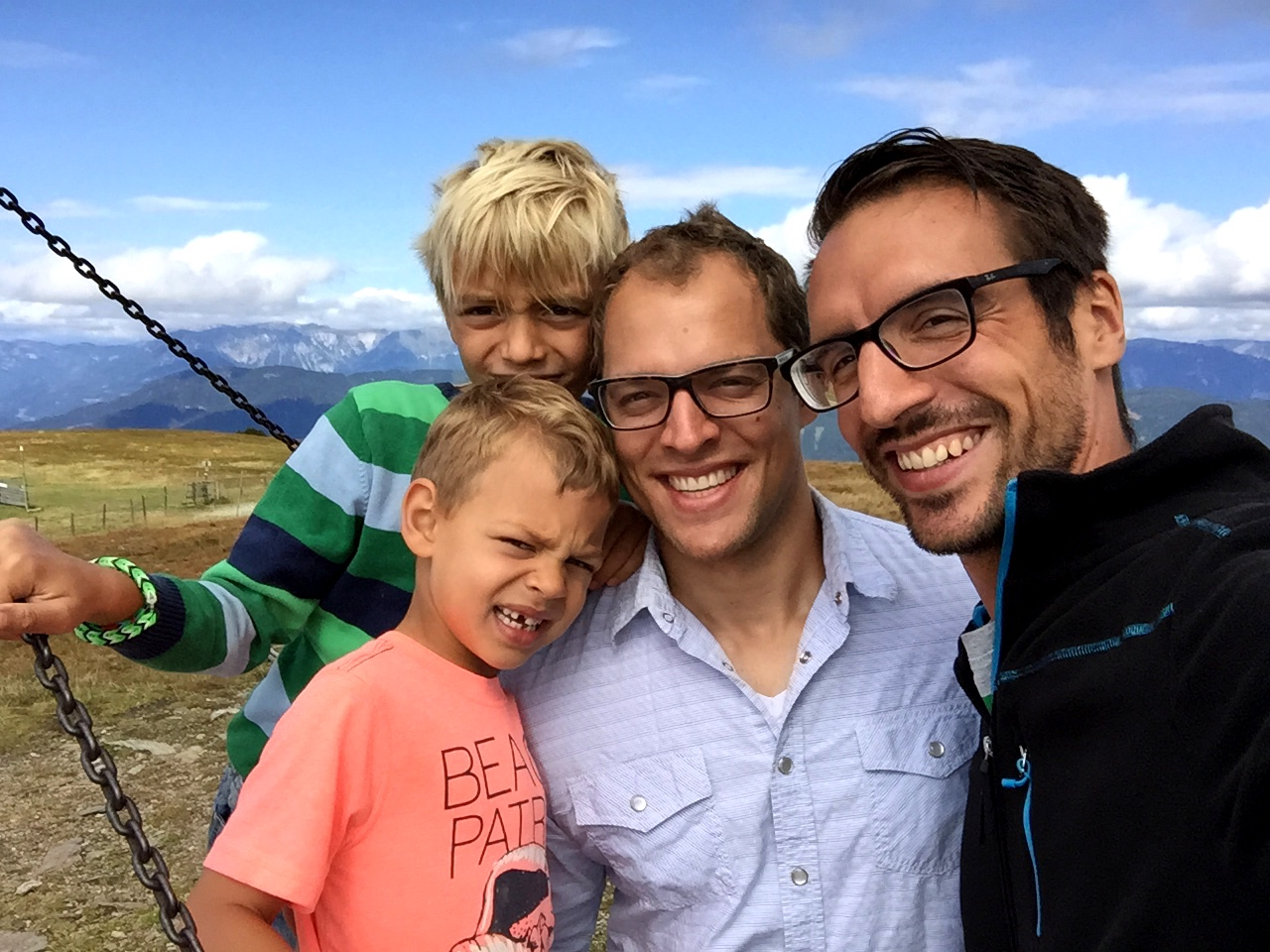 David (mentioned in this post), his son, me, and mine, on a little hike outside the city