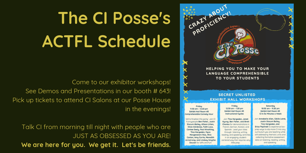 ACTFL 2018 CI Posse exhibit sessions schedule