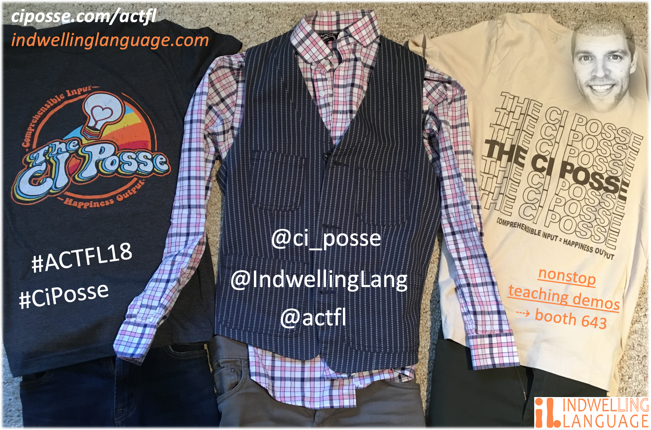 actfl 2018 ci posse shirts, links, and hashtags