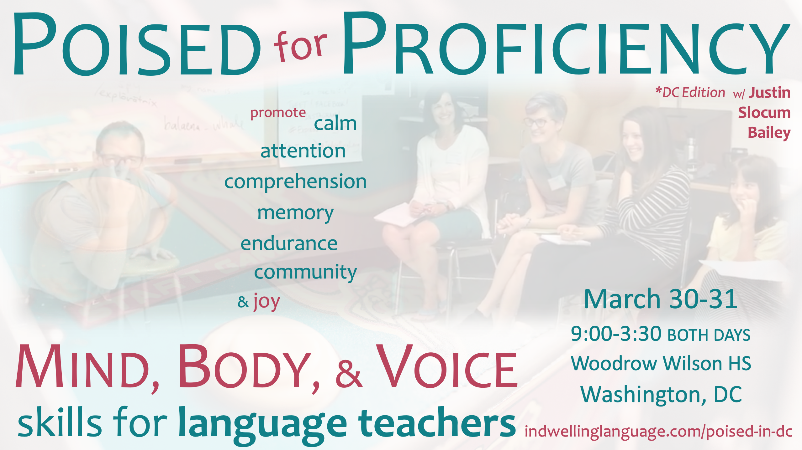Poised for Proficiency: Mind, Body, & Voice Skills for Language Teachers workshop in Washington, DC