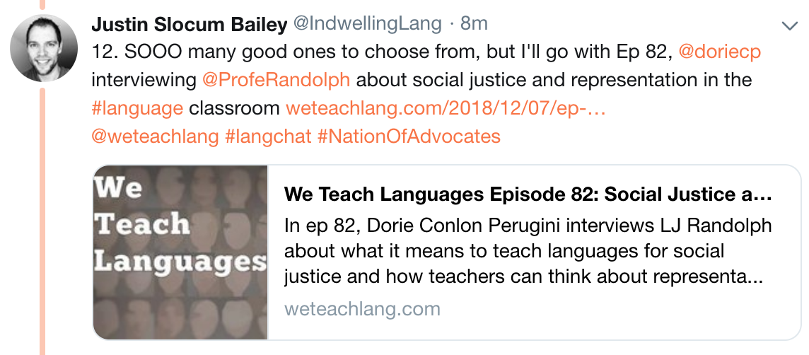 1 Like 1 Answer 12 - favorite episode of We Teach Languages