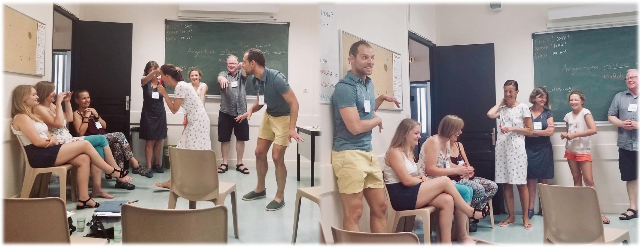 Students laughing in Justin Slocum Bailey's Latin language lab at Agen Workshop 2019