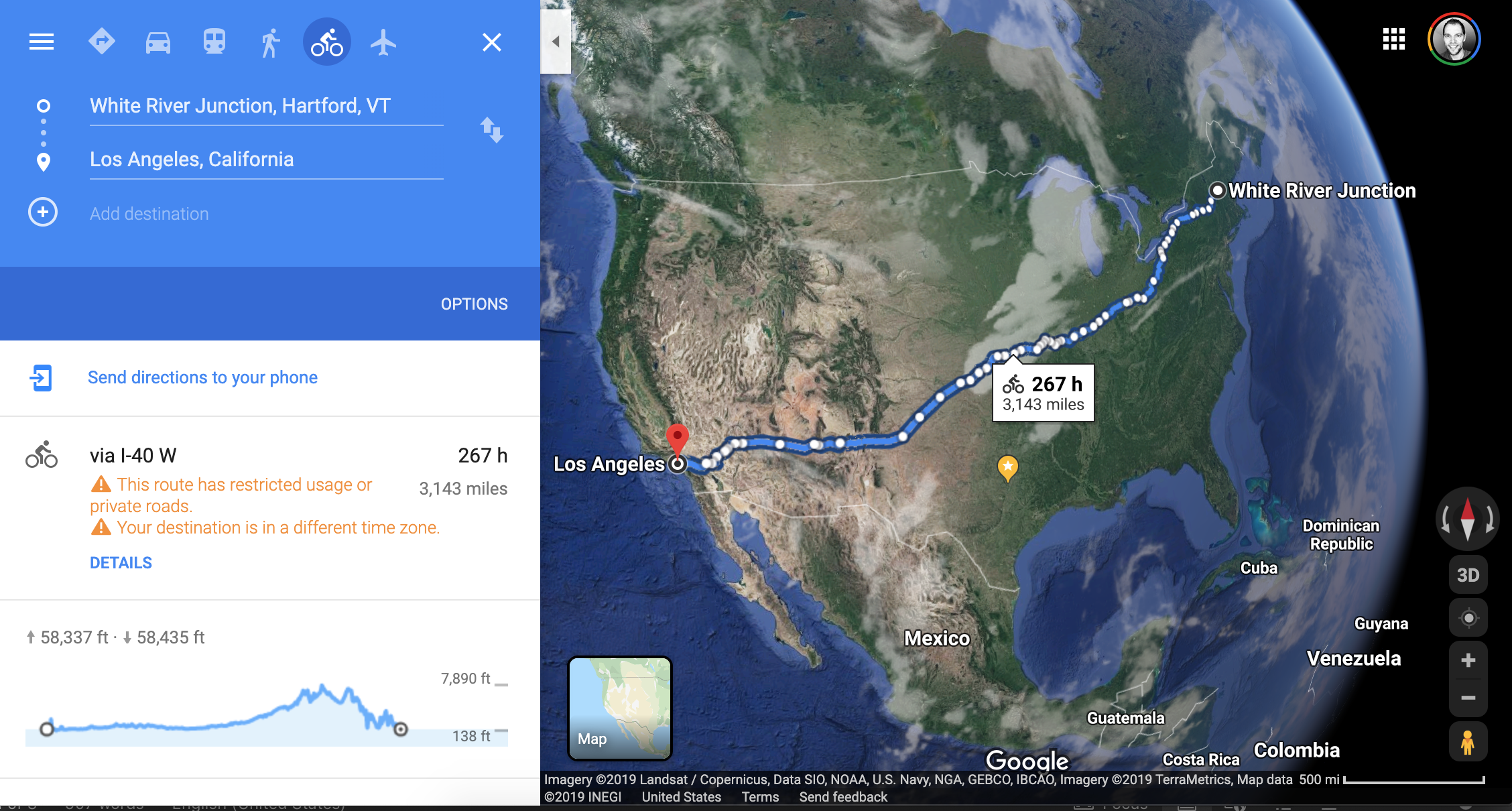 Google Maps result for cycling from White River Junction, VT, to Los Angeles, CA