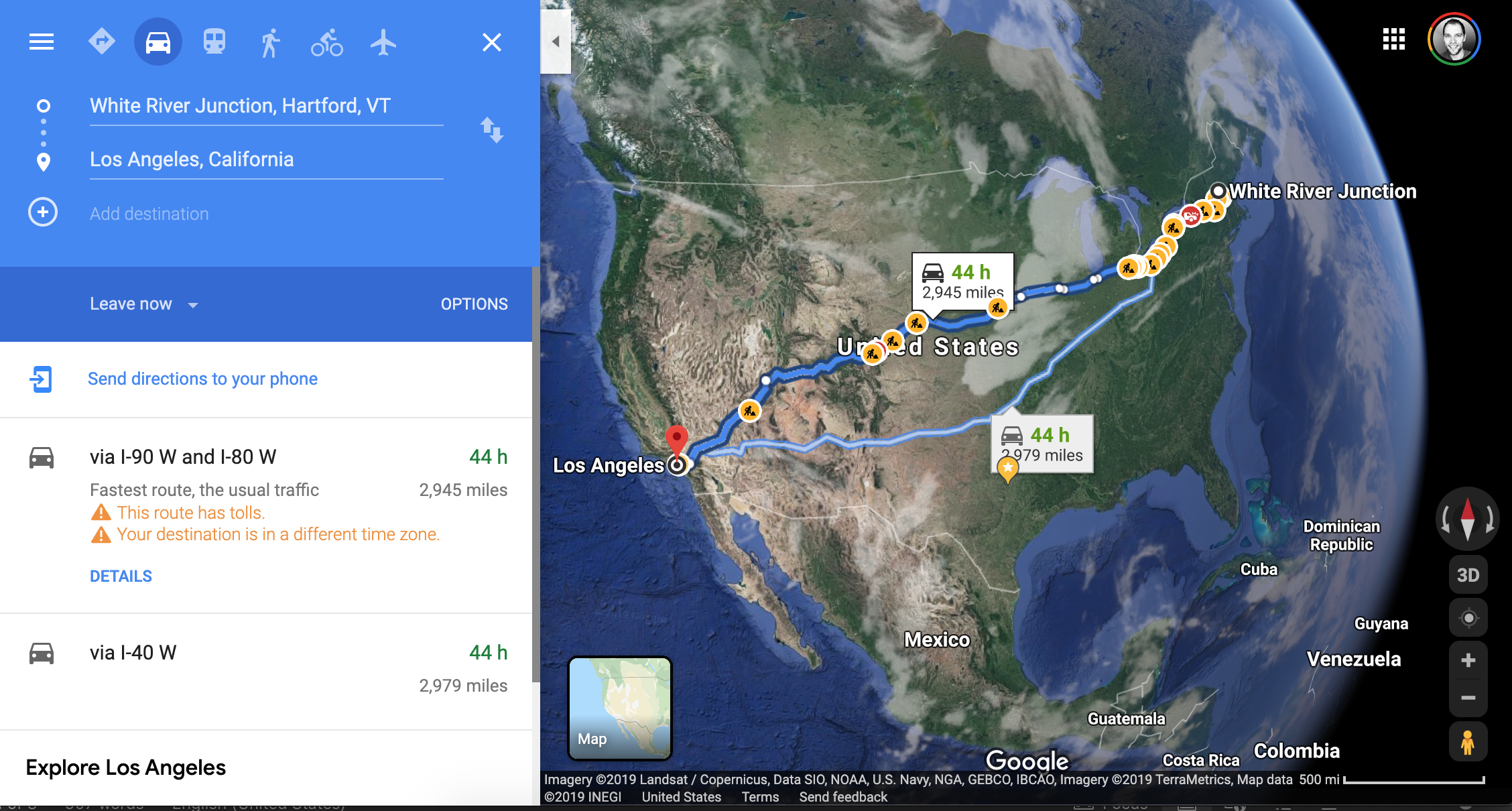 Google Maps result for driving from White River Junction, VT, to Los Angeles, CA