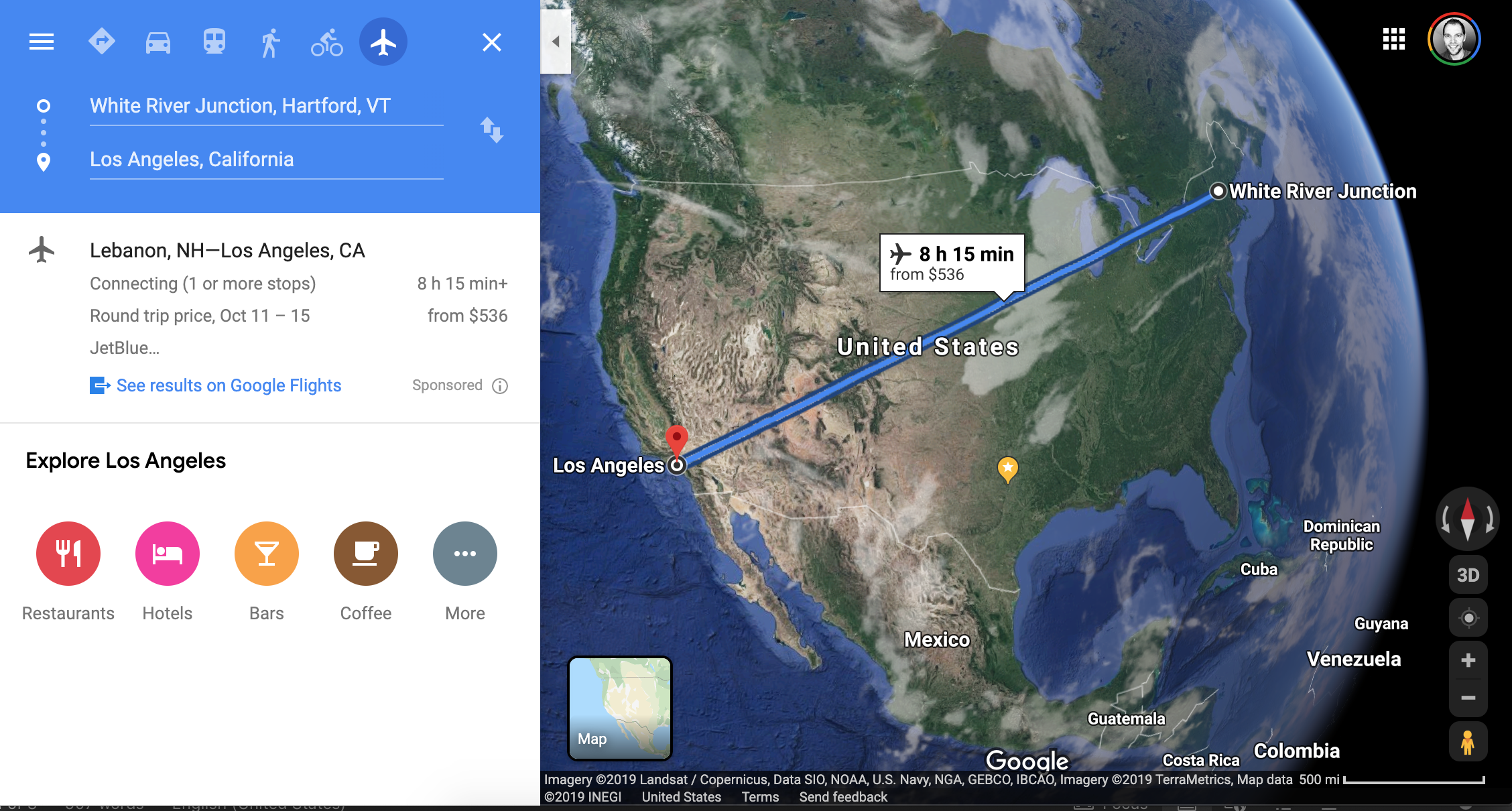 Google Maps result for flying from White River Junction, VT, to Los Angeles, CA