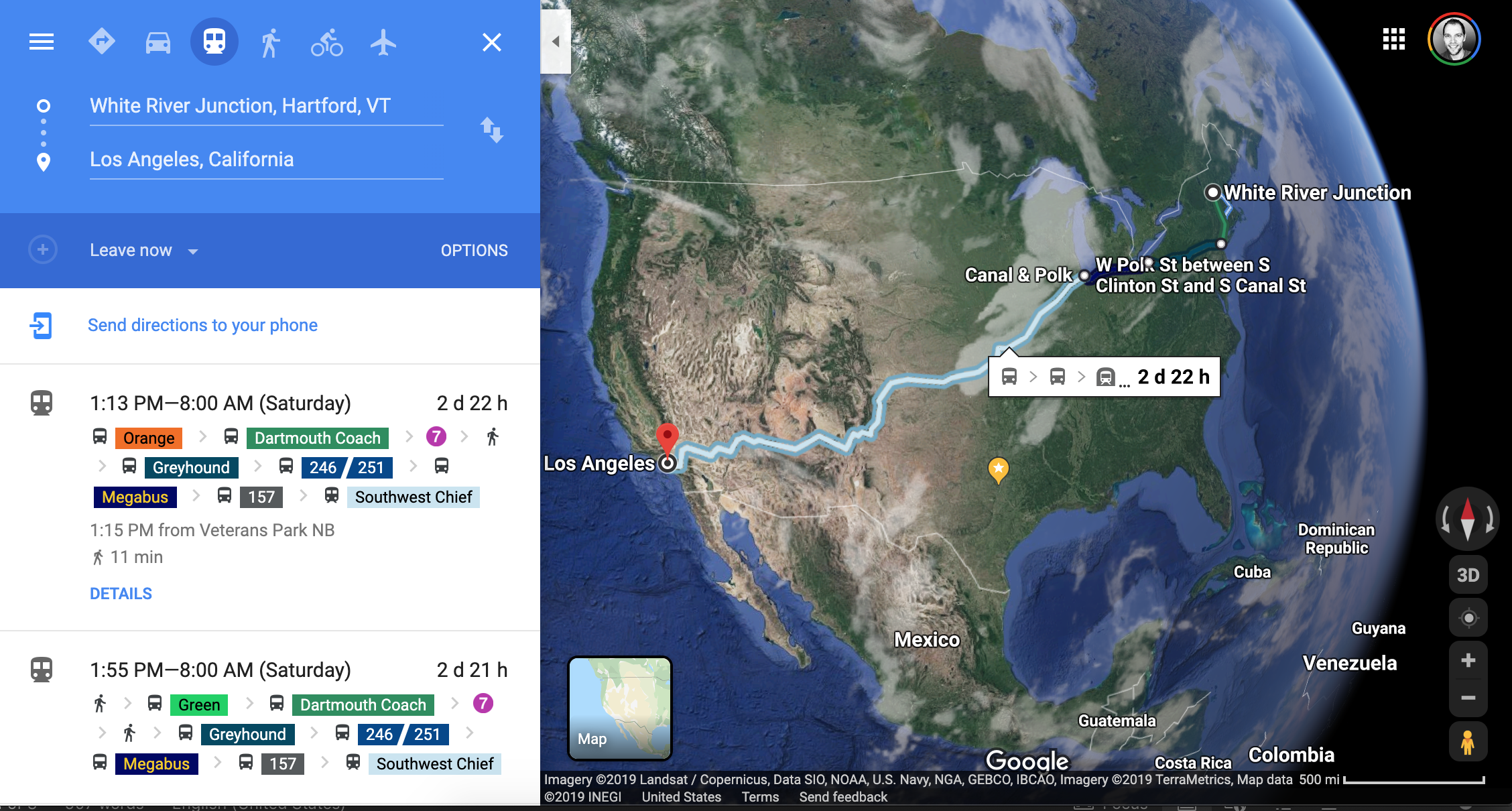 Google Maps result for taking public transportation from White River Junction, VT, to Los Angeles, CA