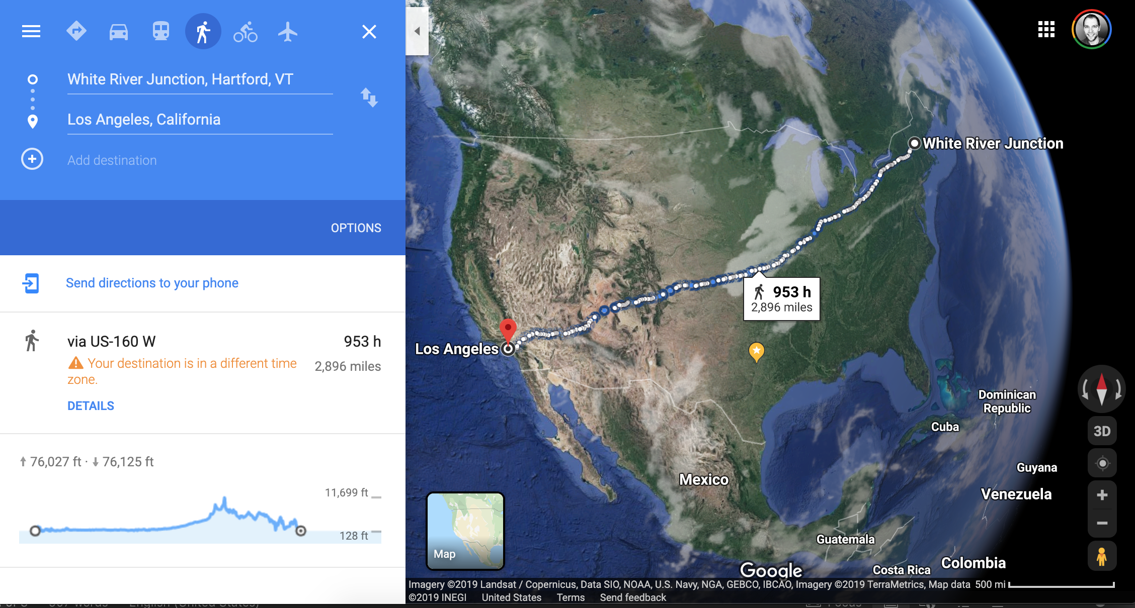 Google Maps result for walking from White River Junction, VT, to Los Angeles, CA