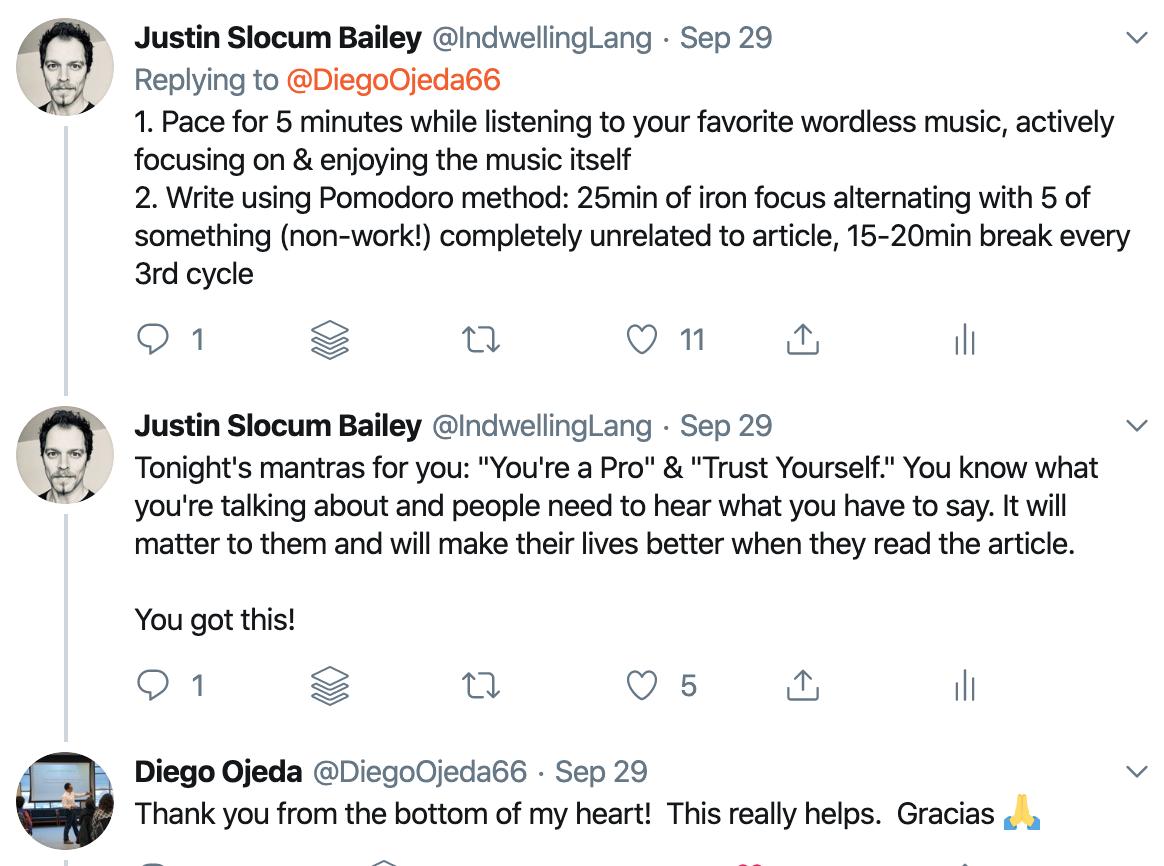 screenshot of JSB's replies to Diego Ojeda tweet requesting work advice (click for original tweet webpage)