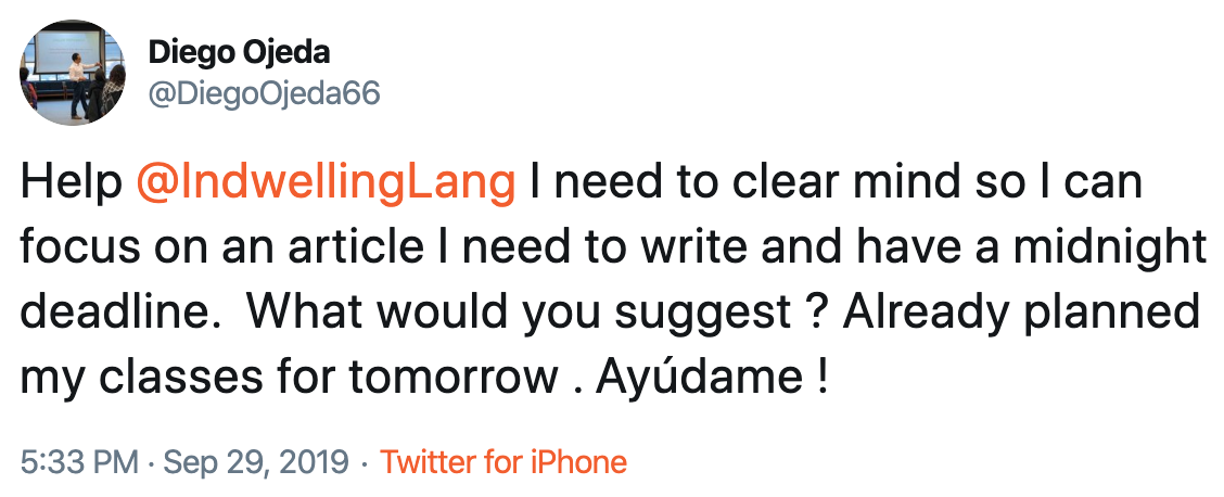 screenshot of Diego Ojeda tweet requesting work advice from JSB (click for original tweet webpage)