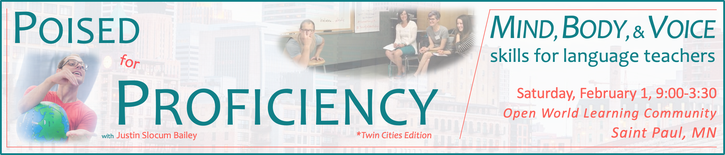 Banner announcing Poised for Proficiency Workshop at Open World Learning Community in Saint Paul, MN, February 1, 2020
