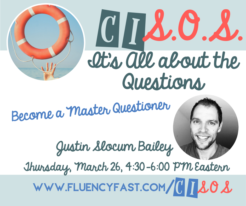 "Promo banner for webinar ""It's All about the Questions"" 3/26, 4:30-6 ET, with link to fluencyfast.com/cisos"