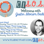 Banner promoting upcoming webinars by Justin Slocum Bailey, with link to fluencyfast.com/cisos