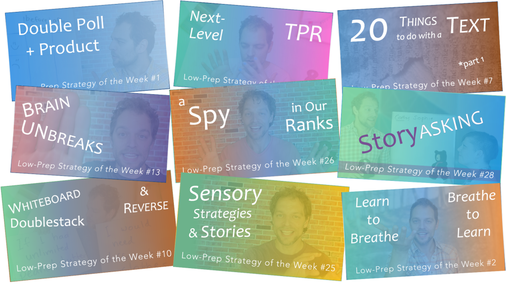 """collage of banners from the TeachHuman """"Low-Prep Strategy of the Week"""" series"""